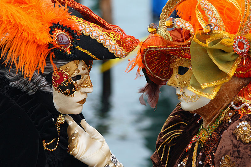 http://commons.wikimedia.org/wiki/File:Venice_Carnival_-_Masked_Lovers_%282010%29.jpg