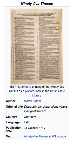 ninety five theses list The ninety-five theses on the power and efficacy of indulgences were written by martin luther and posted on the door of the all saints' church in wittenberg martin luther's actions created a chain reaction that led to almost a century-and-a-half of fighting that weakened both the holy roman.