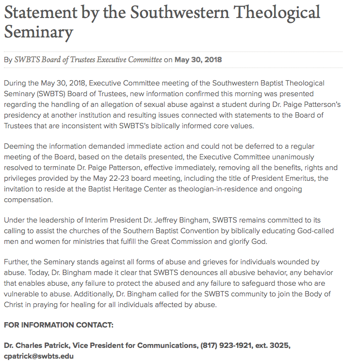 https://swbts.edu/news/releases/statement-southwestern-theological-seminary/