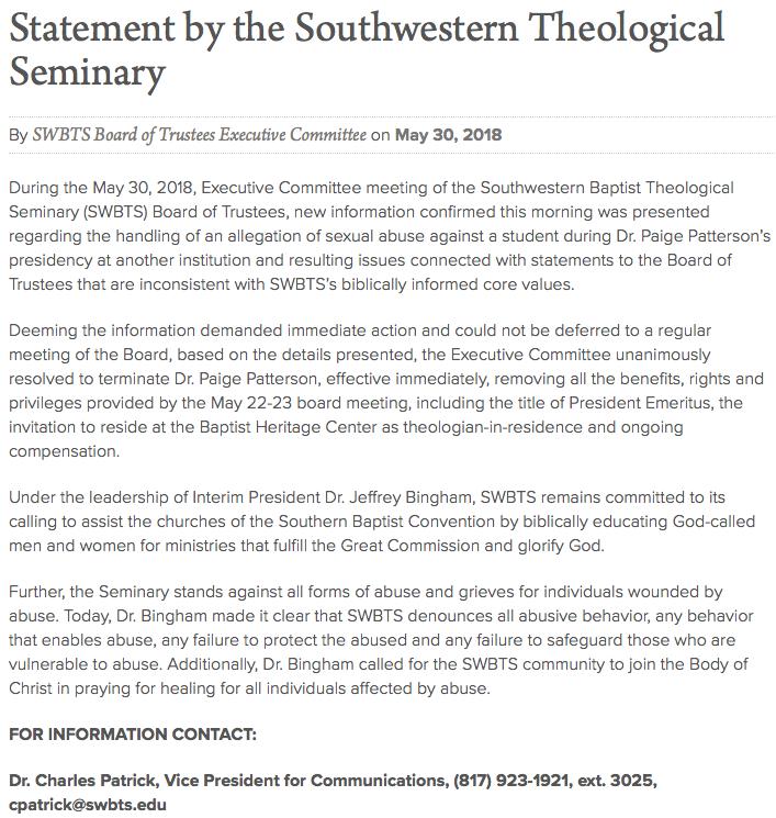 https://swbts.edu/news/releases/statement-southwestern-theological-seminary/